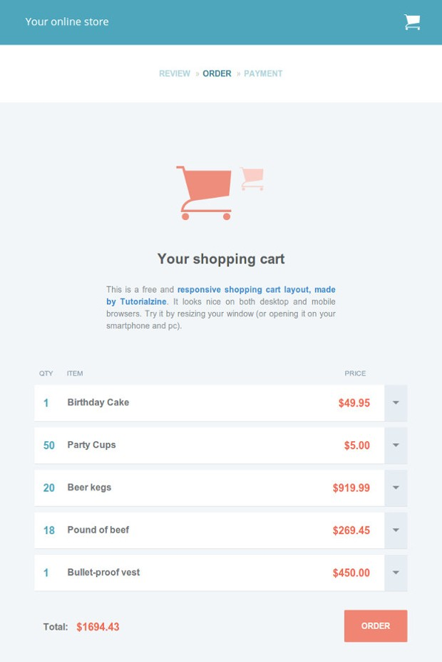 Free Template Responsive Shopping Cart Tutorialzine - Responsive shopping cart template