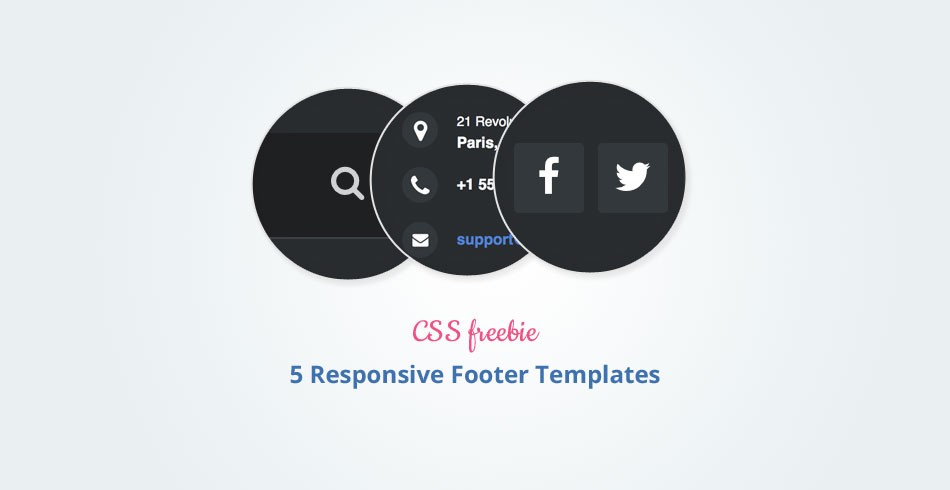 Freebie: 5 Beautiful and Responsive Footer Templates