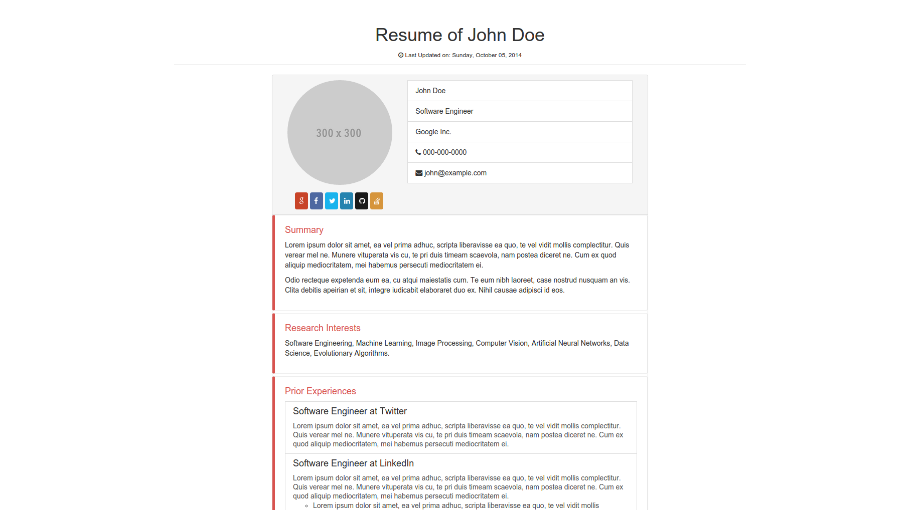 12 time saving bootstrap examples tutorialzine simple resume template falaconquin
