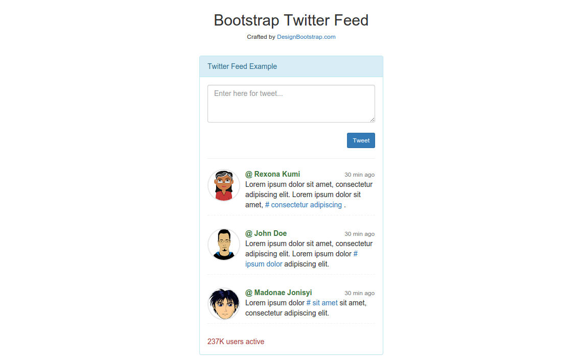 12 time saving bootstrap examples tutorialzine twitter feed falaconquin