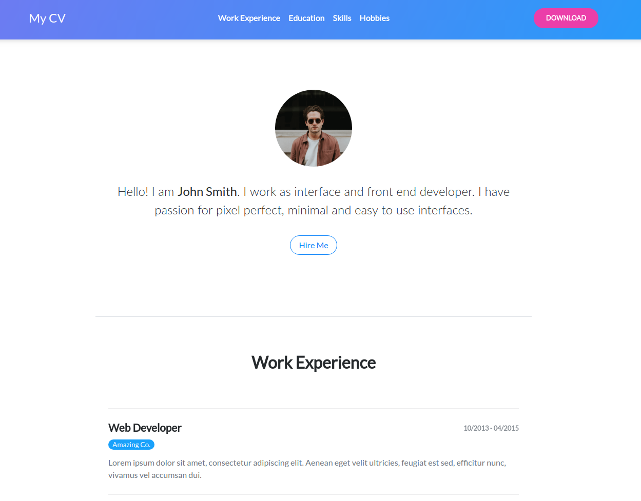 Freebie Beautiful Cv Template With Bootstrap  Tutorialzine
